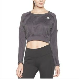 Adidas Aktiv Croc Cropped Pullover Sweatshirt Gray